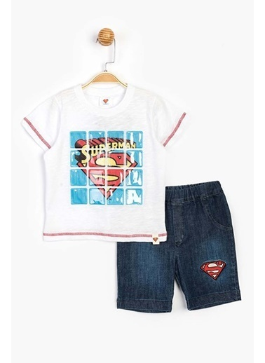 Superman  Kot Şortlu Takım 15644 Beyaz